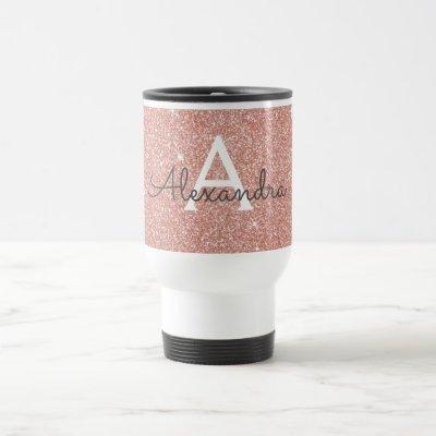 Rose Gold Sparkle Glitter Monogram Name & Initial Travel Mug