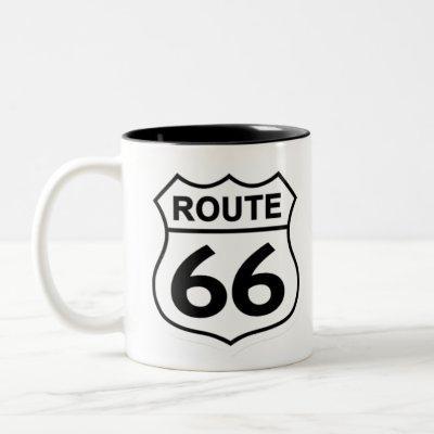 route 66 shield Two-Tone coffee mug