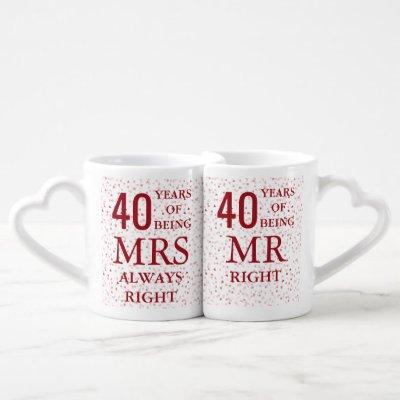 Ruby Hearts Confetti 40th Wedding Anniversary Coffee Mug Set