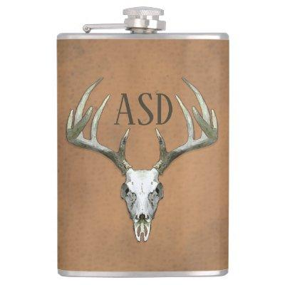Rustic Antlers with Initials Flask