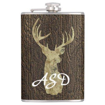 Rustic Buck Deer Hunting Monogram Flask