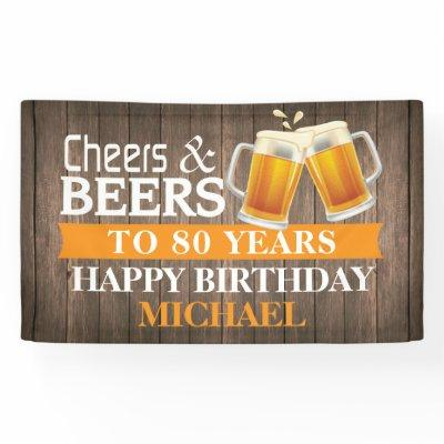 Rustic Cheers and Beers Happy 80th Birthday Orange Banner