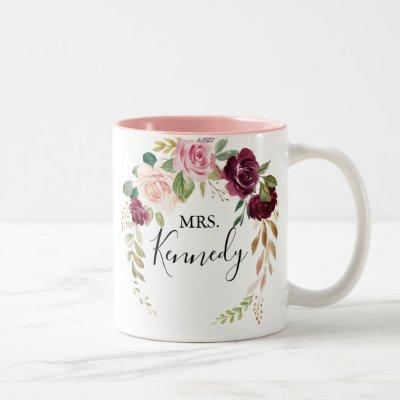 Rustic Floral Botanical Foliage Mrs Newlywed Bride Two-Tone Coffee Mug