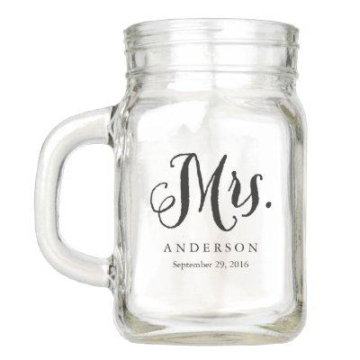 Rustic Mrs. Wedding Mason Jar