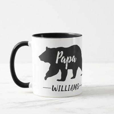 Rustic Papa Bear Monogram Name Mug