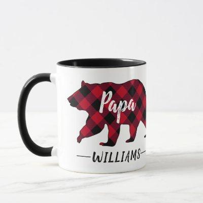 Rustic Papa Bear Monogram Name Red Buffalo Plaid Mug