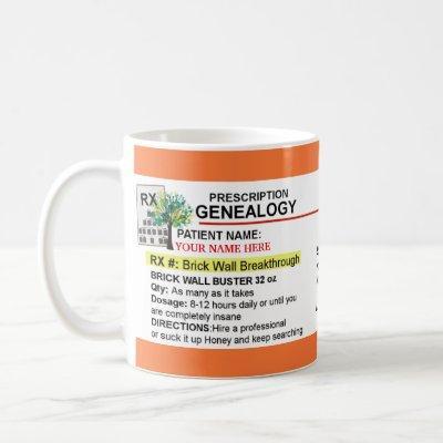 RX Medicine Prescription Bottle Genealogy Mug
