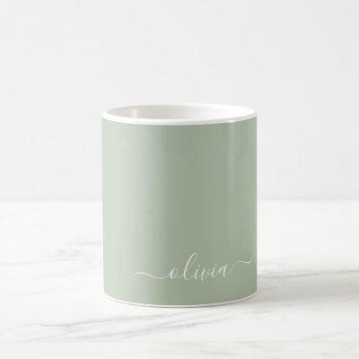 Sage Green Girly Script Monogram Name Modern Coffee Mug