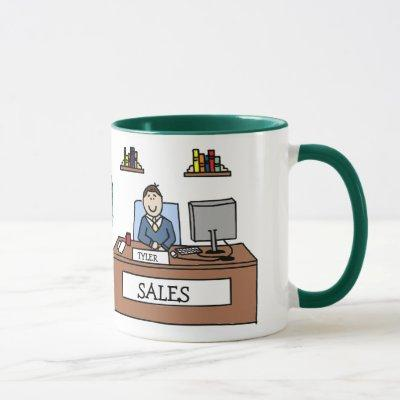 Sales team gift - personalized cartoon mug