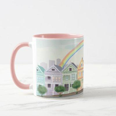 San Fransisco Townhouses Rainbow Mug