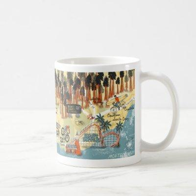 Santa Cruz California Illustrated Map Art Coffee Mug