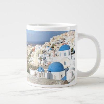 Santorini, Greece, Oia, Mug, White, Blue Giant Coffee Mug