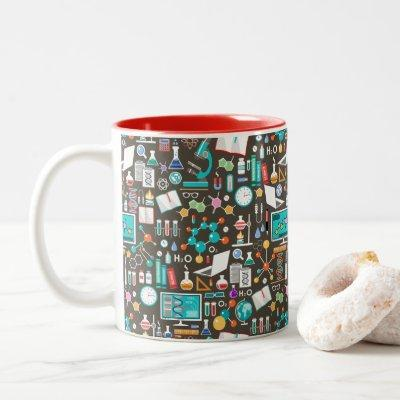 Science / Chemistry Pattern Two-Tone Coffee Mug