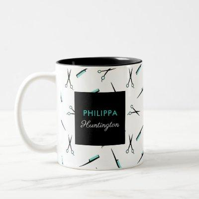 Scissors & Combs - Turquoise Black - Add Name Two-Tone Coffee Mug