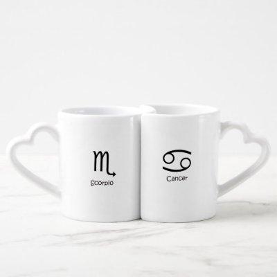 Scorpio Scorpion and Cancer Crab Zodiacs Astrology Coffee Mug Set