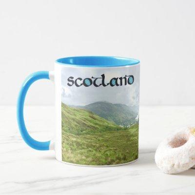 Scotland Calligraphy with Highlands Mountains Mug