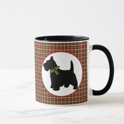 Scottie Dog Scotch Plaid Christmas Mug