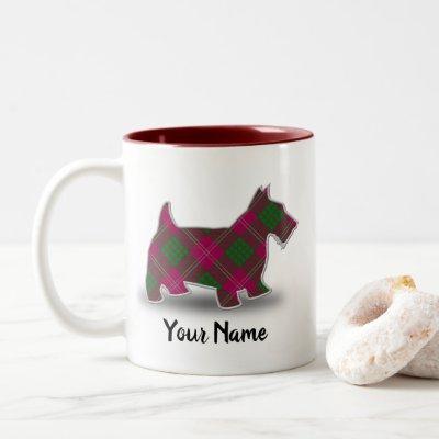 Scottish Clan Crawford Tartan Scottish Terrier Two-Tone Coffee Mug