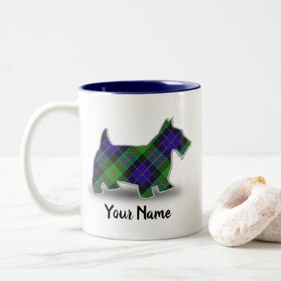 Scottish Clan Gunn Tartan Scottish Terrier Two-Tone Coffee Mug