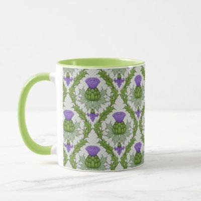 Scottish Thistle Damask Mug