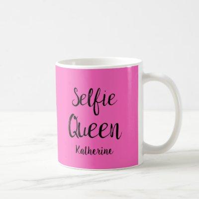 Selfie Queen Name Personalized Fuchsia Hot Pink Coffee Mug