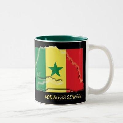 SENEGAL FLAG MAP Scripture Customized BLACK Two-Tone Coffee Mug