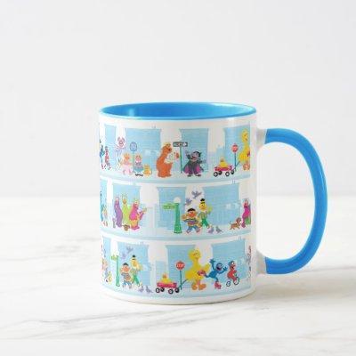Sesame Pals Walking Along Sesame Street Pattern Mug