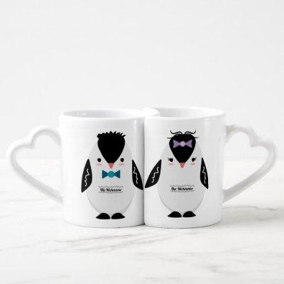 Set of two nesting mugs with Penguins.