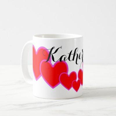Seven Beautiful Big Red Love Hearts Custom Name Coffee Mug