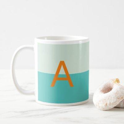 Shades of Teal Monogram Customized Alphabet Coffee Mug