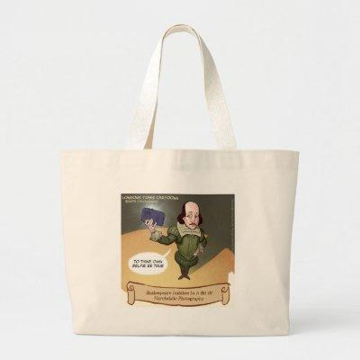 Shakespeare Takes Selfie Funny Large Tote Bag