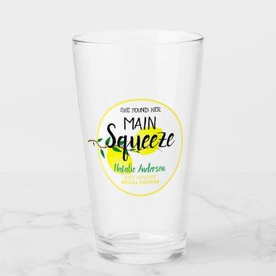 She Found Her Main Squeeze Lemons Bridal Shower Glass