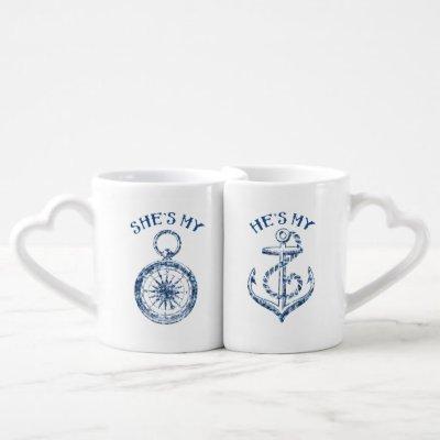 She's My Compass, He's My Anchor Coffee Mug Set