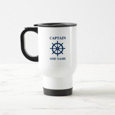 Ships Wheel Helm, With Captain or Boat Name Travel Mug