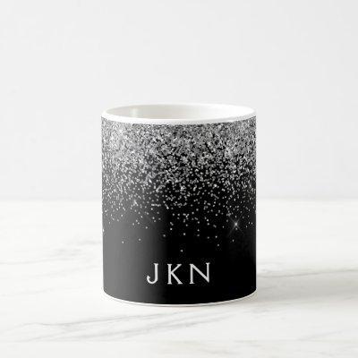 Silver Black Girly Glitter Sparkle Monogram Name Coffee Mug