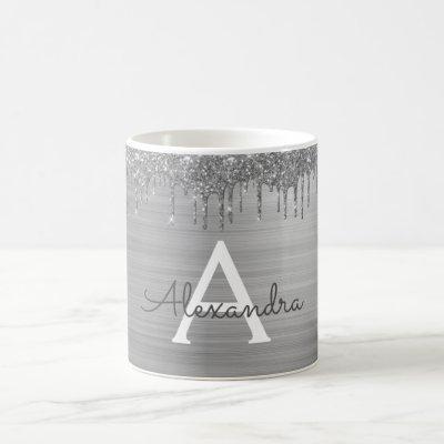 Silver Glitter Brushed Metal Monogram Name Coffee Mug