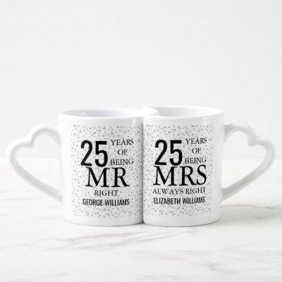 Silver Hearts 25th Anniversary Mr Mrs Right Coffee Mug Set