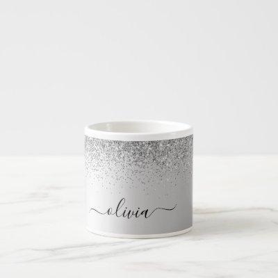 Silver Monogram Glitter Sparkle Girly Script Espresso Cup