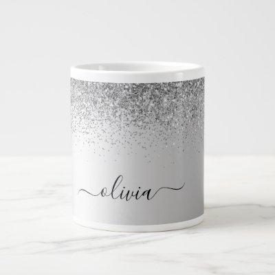 Silver Monogram Glitter Sparkle Girly Script Giant Coffee Mug