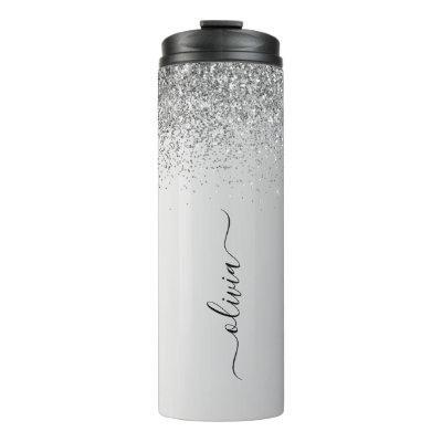 Silver Monogram Glitter Sparkle Girly Script Thermal Tumbler