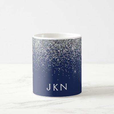 Silver Navy Blue Girly Glitter Sparkle Monogram Coffee Mug