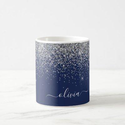 Silver Navy Blue Glitter Girly Monogram Name Coffee Mug