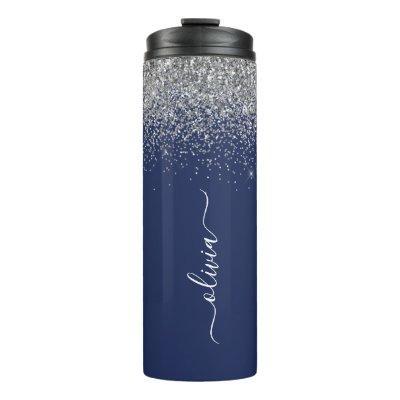 Silver Navy Blue Glitter Girly Monogram Name Thermal Tumbler