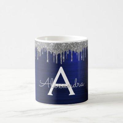 Silver Navy Blue Glitter Sparkle Monogram Name Coffee Mug