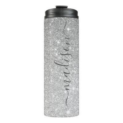 Silver Ombre Sparkle Glitter Signature Script Name Thermal Tumbler
