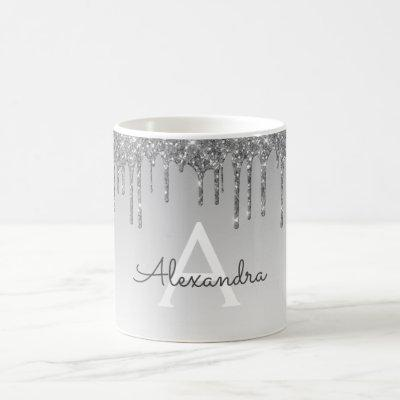 Silver Sparkle Glitter Luxury Monogram Name Coffee Mug