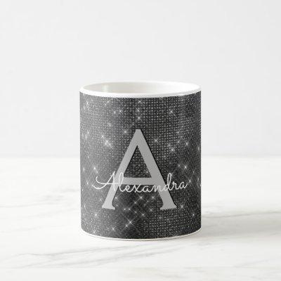 Silver Sparkle Shimmer Monogram Name & Initial Coffee Mug