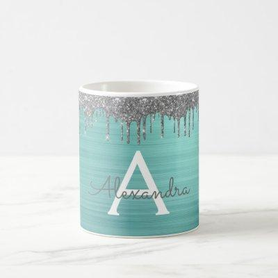 Silver Teal Glitter Brushed Metal Monogram Name Coffee Mug