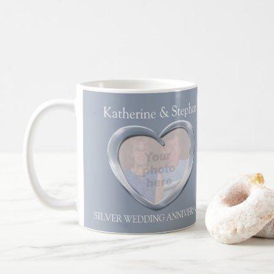 Silver wedding anniversary photo mug