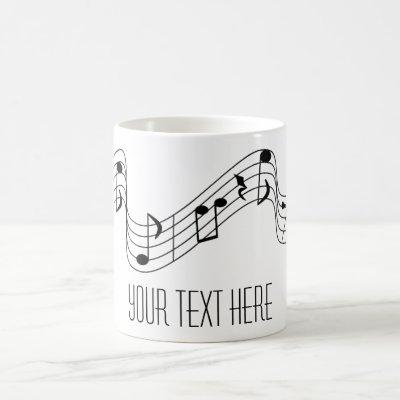 Simple Black White Music Notes Custom Name Coffee Mug